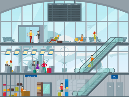 People in airport concept with passengers visiting luggage storage passing customs control and waiting plane boarding vector illustration
