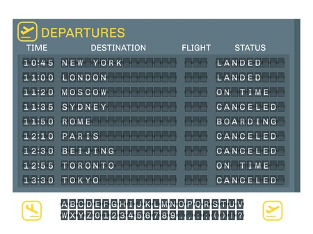 Airport board concept with time destination status of flights and letters numbers signs vector illustration 向量圖像