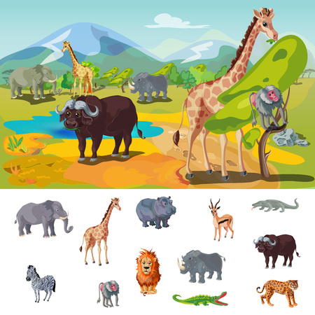 African Wildlife Concept Illustration