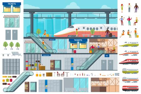 フラット鉄道駅インフォ グラフィック コンセプト  イラスト・ベクター素材