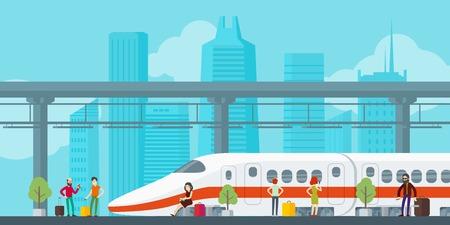 Colorido concepto de estación de tren Ilustración de vector