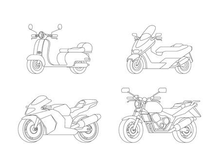 Linear Motorcycles Set Illustration