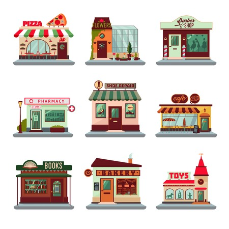 front of house: Colorful City Buildings Set
