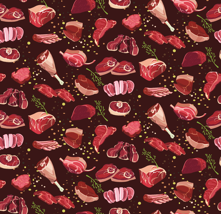 Fresh cut beef parts in seamless pattern.