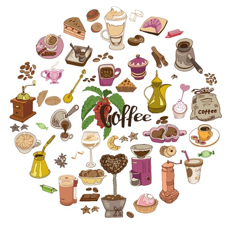 Colorful Doodle Hot Drink Round Concept Illustration