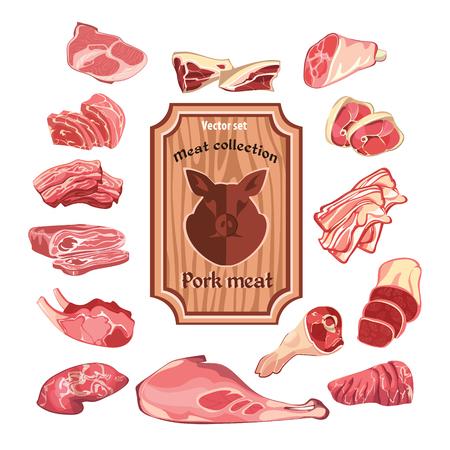カラフルな肉要素コレクションをスケッチします。