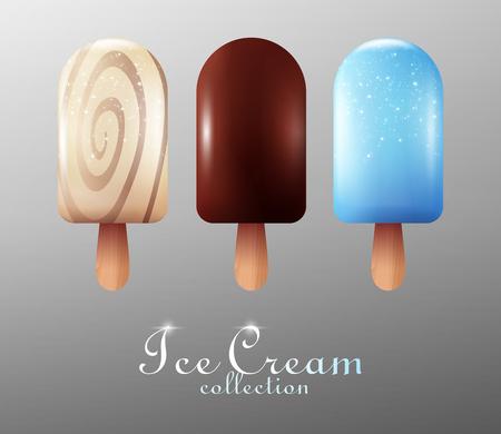 Collection réaliste de crème glacée Banque d'images - 75392055