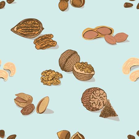 カラフルなナッツや種子のシームレス パターン  イラスト・ベクター素材