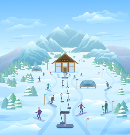 Winter Vacation Outdoor Template Illustration