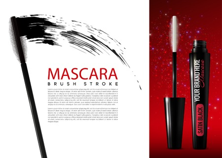 opened eye: Realistic Mascara Cosmetic Advertising Template