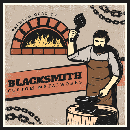 Vintage colorful blacksmith poster with metal chain fireplace and working on anvil master holding sledgehammer vector illustration Illustration