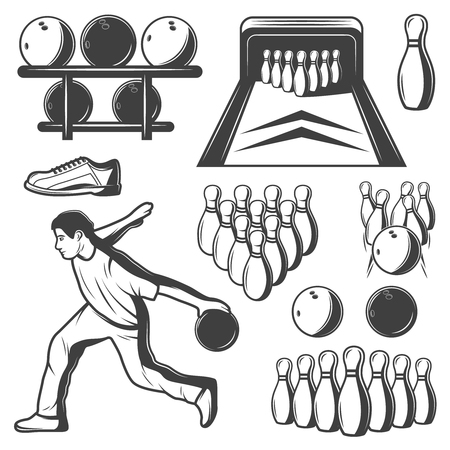 Monochrome vintage bowling elements collection with player balls skittles sneaker and lane isolated vector illustration