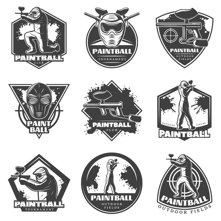 Monochrome vintage paintball club labels set with players equipment ammunition and weapons isolated vector illustration
