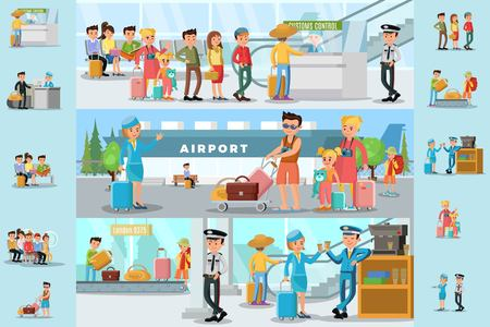 空港インフォ グラフィック テンプレートの人々  イラスト・ベクター素材