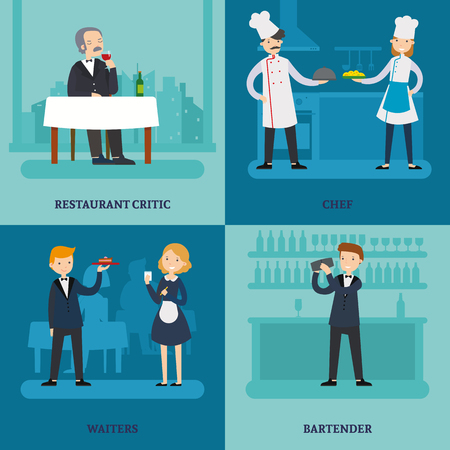People In Restaurant Square Concept