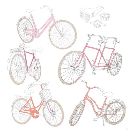 Kleurrijke hand getrokken fietsen Set