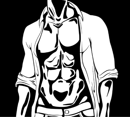 Graphic athletic man with attractive body muscles wearing unbuttoned shirt and trousers on black background vector illustration