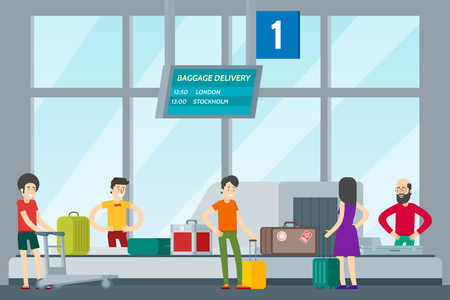 People in airport template with passengers taking their baggage from luggage conveyor belt vector illustration