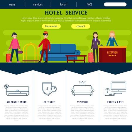 Modelo De Página Da Web De Hotel Plana Com Funcionários De Clientes E Lista De Ilustração Em Vetor De Serviços De Alta Qualidade