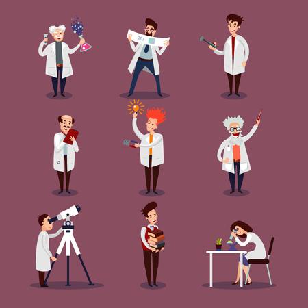 Caracteres de los científicos con los físicos de los biólogos químicos y astrónomo en diferentes situaciones ilustración de vector aislado Logos