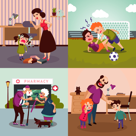 Colorful Family Violence Concept Illustration