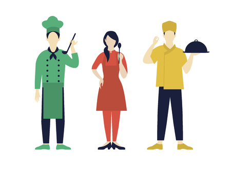 Italian chefs collection with restaurant kitchen workers in different uniform in flat style isolated vector illustration Illustration