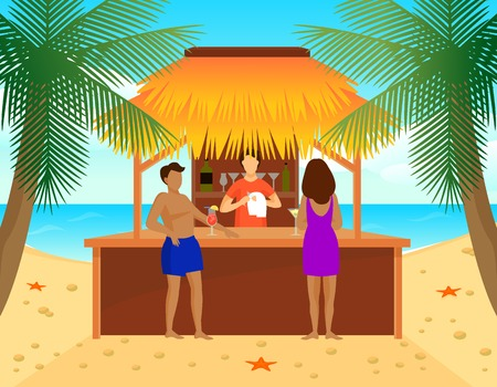 Flat tropical beach bar concept with man and woman drinking cocktails and bartender vector illustration