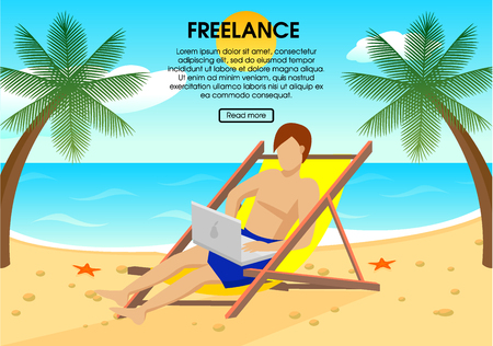vacation with laptop: Flat Freelance Concept Illustration
