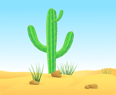 Light wild sand desert landscape template with green sharp cactus and stones vector illustration Ilustração