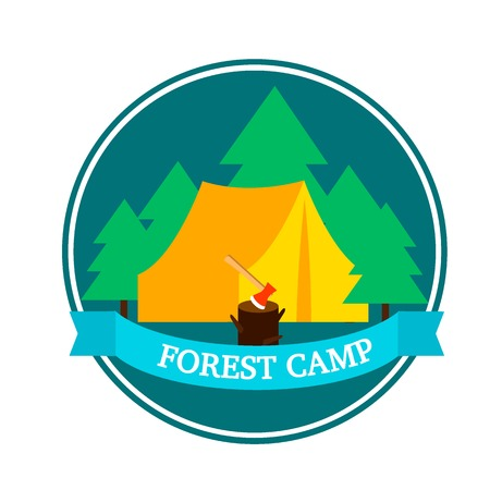 hatchet: Flat forest camping round logo template with tent hatchet in wood stump and green trees vector illustration