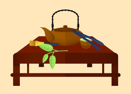 Chinesisches Konzept der flachen Teezeit mit grünen Blattteekannenschüsselbürstenzangen auf brauner Tabelle lokalisierte Vektorillustration Standard-Bild - 75276373