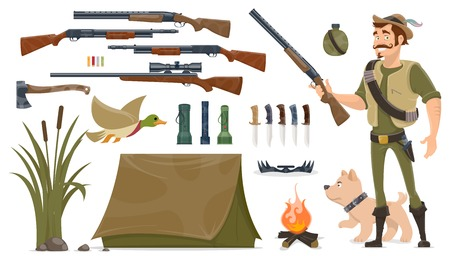 Hunting Elements Set Illustration