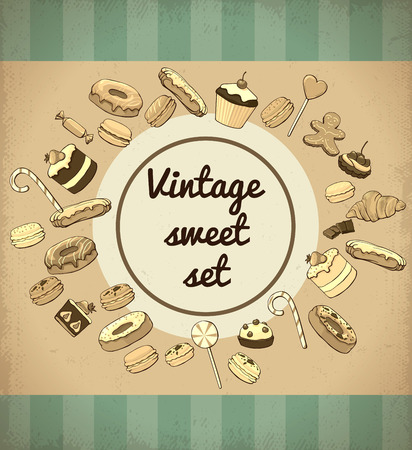 Vintage productos dulces y plantilla de postres Ilustración de vector