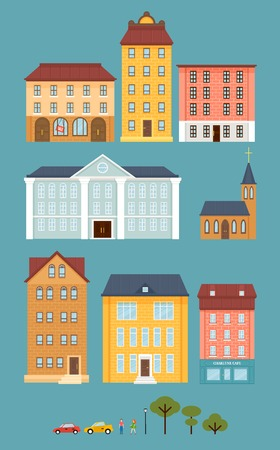 Flat City Landscape Elements Set Ilustrace
