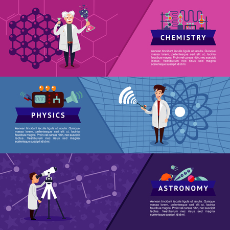 Colorful science horizontal banners with scientists and chemistry physics astronomy equipment vector illustration. Ilustração
