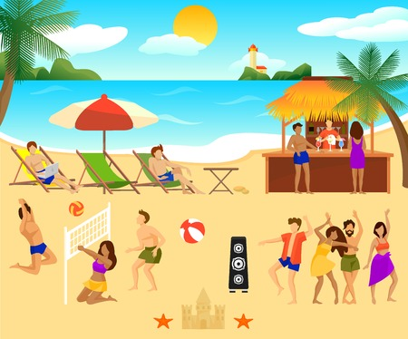 Tropical Beach Elements Set Illustration