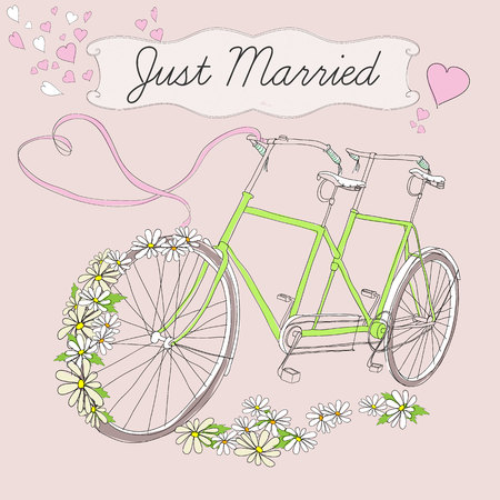 Vintage drawing marriage poster with tandem bicycle for just married couple chamomiles pink ribbon and hearts vector illustration. Çizim