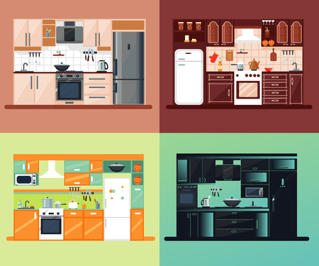 kitchen furniture: Kitchen interior square composition with different kinds of design and colors vector illustration Illustration
