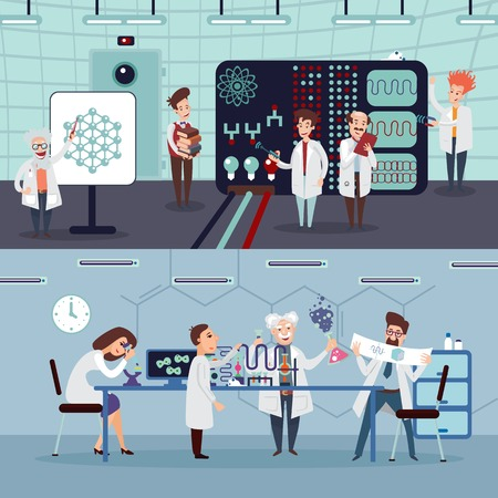 Scientific research horizontal banners with group of scientists doing experiments and tests in laboratory vector illustration Ilustração