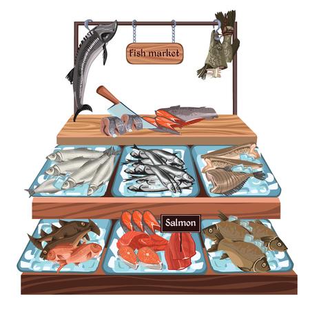 ニシン マス鯉鮭ヒラメのザンダー スズキのタラ釣る魚製品カウンター ベクトル図のシーフード市場概念をスケッチします。