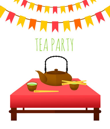 flat traditional tea party template royalty free cliparts vectors