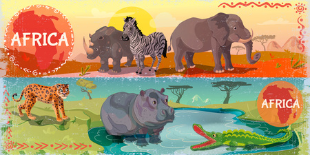 Cartoon wild africa horizontal banners with leopard rhino elephant zebra hippo and crocodile on african nature landscape vector illustration