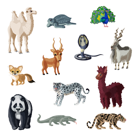 Cartoon colorful asian animals collection with wild mammals reptiles and bird isolated vector illustration Illustration