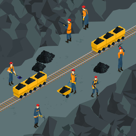 Coal industry isometric template with miners working in mine and holding manual labor tools vector illustration