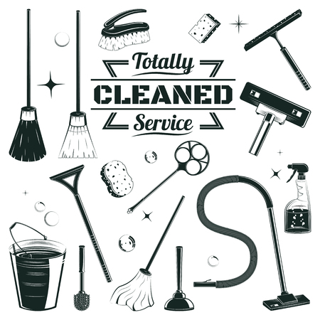 Hand drawn cleaning elements set with brooms bucket mop spray plunger brush sponge isolated vector illustration
