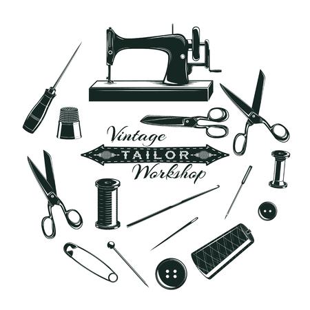 kit de costura: Colección de elementos de sastre dibujado a mano con herramientas de costura y accesorios en círculo ilustración vectorial aislada