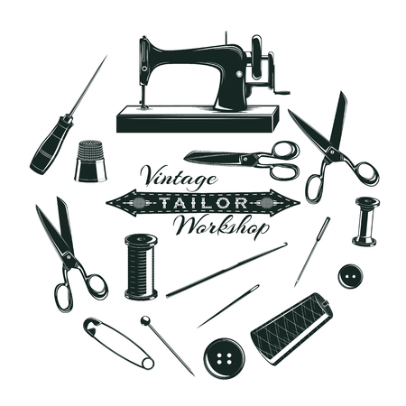 Hand drawn tailor elements collection with sewing tools and accessories in circle isolated vector illustration Illustration