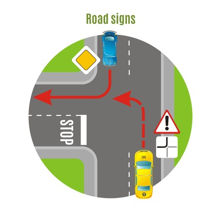 City traffic top view concept with road signs vehicles and turn rule on urban crossroads vector illustration