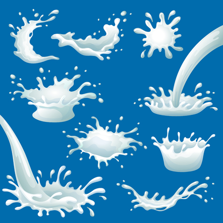 spot the difference: Cartoon milk blots and splashes set of different shapes on blue background isolated vector illustration