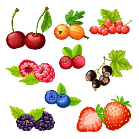 Kleurrijke cartoon bessen iconen collectie met cherry kruisbes aardbei cowberry cranberry blauwe bosbes blackberry bessen framboos geïsoleerde vectorillustratie